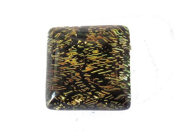 Handmade square Dichroic Glass 10 mm Green Pink cabochon