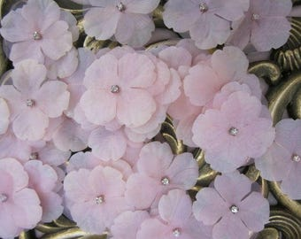 36 pc Hand Dyed Pastel PINK Hydrangea boutique petal flowers with rhinestone centers Bridal Baby Christening