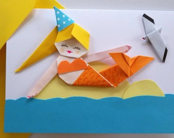 Handmade Mermaid Birthday Card, Origami Paper Mermaid, 3D Card for Girl, Birthday Girlfriend Card,