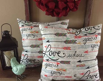 Love Where You're Going Set of 2  Decorative Pillows-Arrows-Inspirational-Mint Green-Coral-Home Decor
