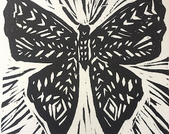 Butterfly Woodcut Print 5 x 7in.