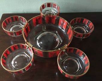 Vintage Asian Siam Mid-Century Glass Unmarked Party Snack Serving Set Red Gold