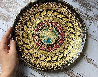 decorative plate mandala plate wall plate decorative plates decorative art & Large decorative plate Mandarin Sunset Wall hangings