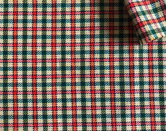Vintage Fabric 70's Plaid Wool Blend, Woven, Fabric, Upholstery Fabric, Textiles