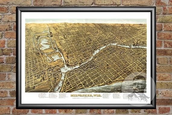 Milwaukee Map Vintage Print From Old Milwaukee Art - Vintage milwaukee map