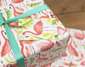 Flamingo Wrapping Paper - Tropical Leaves paper - Birthday Wrapping Paper - Wedding Wrapping Paper - Flamingo Paper Decoupage, scrap booking