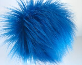 Luxury Cobalt Blue Faux Fur Pom Pom