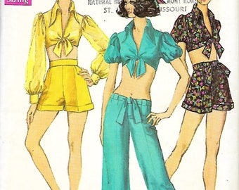 1960's Simplicity 8250 Misses Midriff Blouse, Shorts And Hip-Hugger Bell-Bottom Pants Pattern, Size 8, Bust 31 1/2