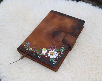 Hand Painted Flowers Leather Journal Cover / Aged Leather Bound Book Cover / Handmade Leather Journal Cover / Hand Made Notebook Cover