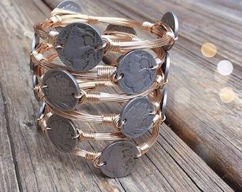 Buffalo nickel coin wire bangle bracelet
