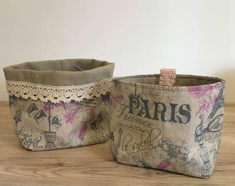 Cestino in tessuto per confettate, idea regalo o cestino per confezioni,  fantasia Paris