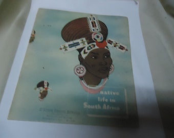 Vintage 1950's Native Life in South Africa Booklet With Great Color Prints by Tourist Corporation, collectable