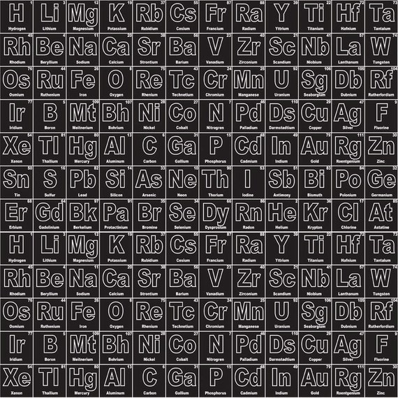 Periodic table fabric riley blake c4550 black periodic novelty by periodic table fabric riley blake c4550 black periodic novelty by becky marie designs chemistry fabric science fabric elements urtaz Choice Image