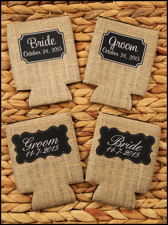 Bride And Groom Custom Can Coolers Burlap Look Rustic Wedding Gifts Personalized Monogram Mr. and Mrs. Gifts Can Coolie Beer Can Cooler