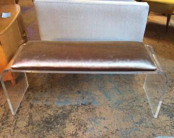 Vintage Lucite Acrylic Bench w/ Velvet Pillow