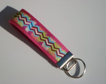 Wristlet Key Fob / Key Chain -Chevron / Multi Color Zig Zag on Hot Pink Cotton Webbing