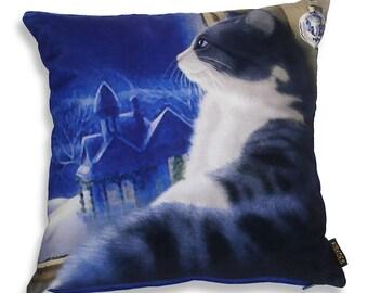 Cat Pillow blue velvet cushion cover MUSING…