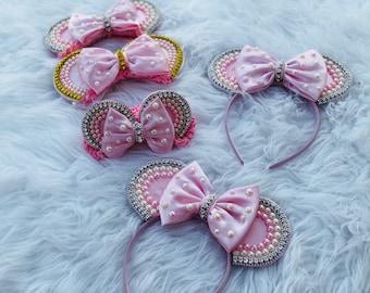 Baby Headbands , Fashion Minnie ear headbands , pearls headbands , pink Minnie ears