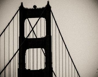 Large photograph- Golden Gate Bridge black and white. San Francisco modern hip decor