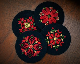 Hand Embroidered Coasters, Set of 4, Palestinian Embroidery