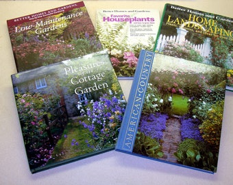 Garden book lot -gardening books collection-flower country cottage landscaping plants