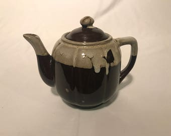 Ceramic Teapot with Lid, brown and off-white, 6 1/2 tall