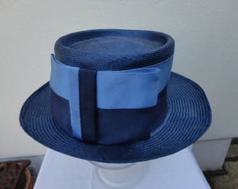 Vintage blue straw boater 52 cm diameter