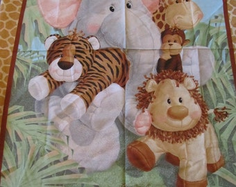 Jungle Animal/Lion/Giraffee/Monkey/Elephant/Tiger Cotton Fabric by the Panel