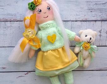 Textile doll Decorative Doll  rag doll fabric doll Interior doll