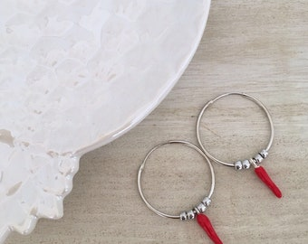 Rims with red croissants and silver glass stones-925 sterling silver
