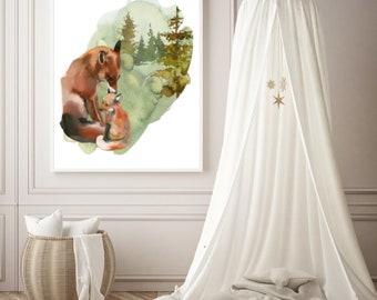 PDF Printable Art - MamaFox and Baby Fox