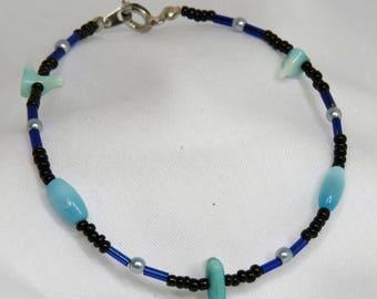 Black and Blue coral beaded bracelet