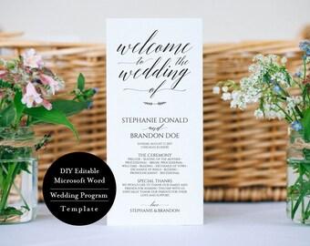 Wedding Program Printable, Editable Wedding Program, Wedding Program Template, Rustic Wedding Ceremony Program, Instant Download, MSW1