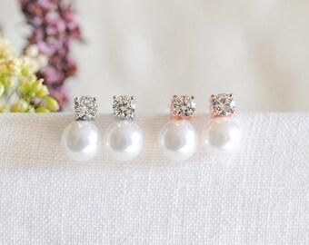 Pearl Bridesmaid Earrings, Bridal Earrings, Rose Gold Wedding Earrings, Crystal Stud Earrings, Bridesmaid Jewelry, Bridal Jewelry, TANIKA