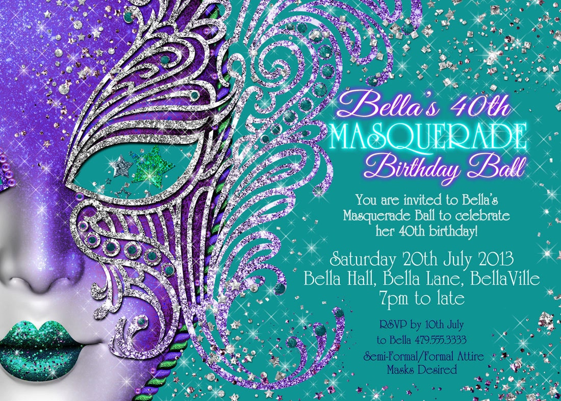 Quinceanera Masquerade Invitation Sweet 16 Mask Party