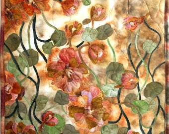 Quilted wall hanging, art quilt made with hand painted fabric, wall hanging, wall art - Nasturtiums