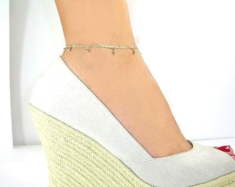 chain anklet curb anklets yellow snake bracelet solid ankle cuban miami inch real pin gold octagonal