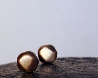 Solid Gold Pebble Earrings Diamond Stud Earrings solid 14k yellow gold Earrings Minimal earrings 14k rose gold pebble studs