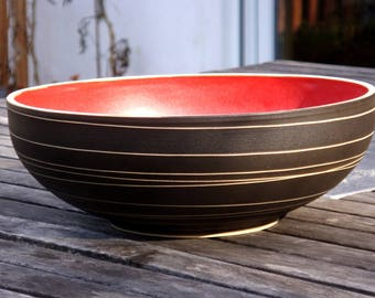 Hand-pottered salad bowl, fruit bowl in red, gifts for you