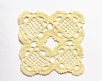Light Yellow Crochet square Doily vintage doily