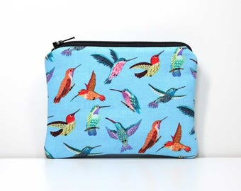 Zipper Coin Purse - Hummingbirds on Blue - Little Zipper Pouch Small Wallet - Humming Birds Small Zipper Pouch with Key Ring or Wrist Strap