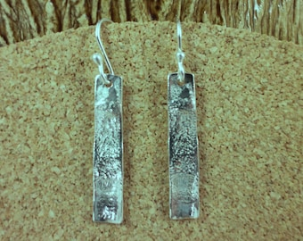 Reticulated Texture Rectangle Sterling Silver Bar Earrings .Modern geometric Silver Earrings - ElenadE
