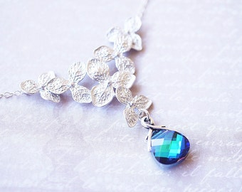 Necklace, Flower Necklace, Silver Necklace, Crystal Necklace, Blue Necklace, Hydrangea Necklace, Handmade Necklace, Gift for Her, Gift