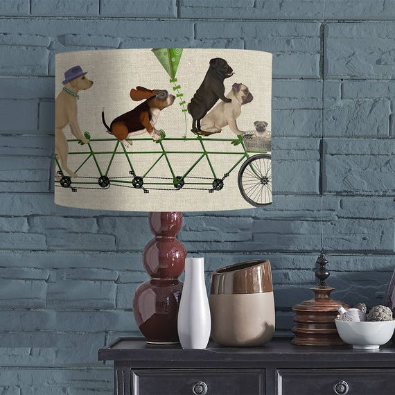 Lamp shade dog tandem drum lampshade dog lover gift dog aloadofball Gallery