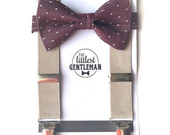 boys  burgundy wine bow tie and suspenders set , baby boy suspenders, suspenders, ring bearer outfit, page boy, braces, boys wedding bow tie