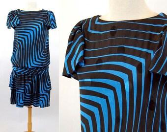 1980s dress blue black op art drop waist tiered ruffle skirt Lizzy & Johnny Size 6