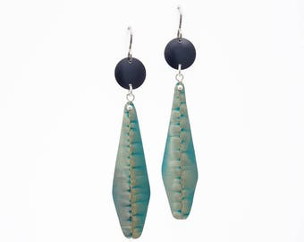 Long Green and Black Earrings – Anodized Aluminum Jewelry- Fold and Curve Collection by Mandy Allen