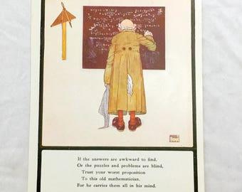 Edmund Dulac Old Mathematician Professor Writing on Blackboard Antique Color Lithograph Children's Teacher Art 1920s