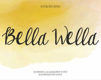 Calligraphy Font Handwritten Script Wedding Watercolor Instant Download - Bella Wella Font