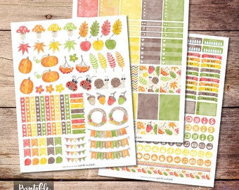 Autumn Printable Planner Stickers, Autumn Stickers, Weekly kit, Printable Stickers, Printable Weekly Kit, Cut File